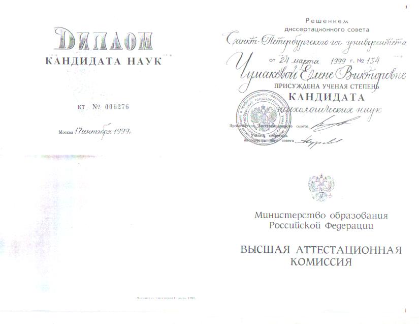 Диплом кандидата психологических наук