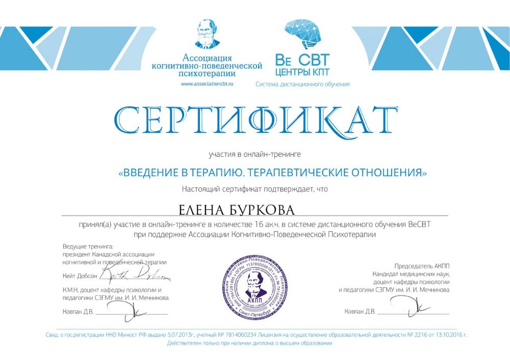 """Сертификат """"Введение в терапию. Терапевтические отношения"""""""