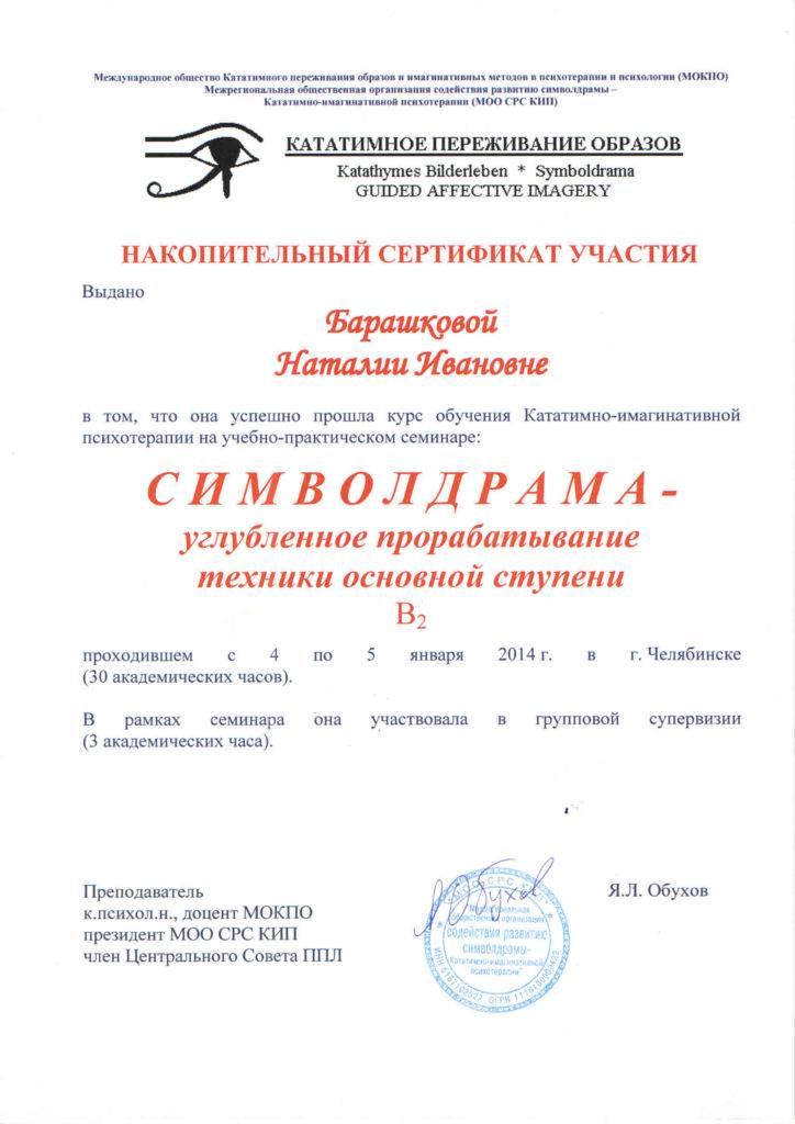 """Сертификат """"Символдрама"""""""