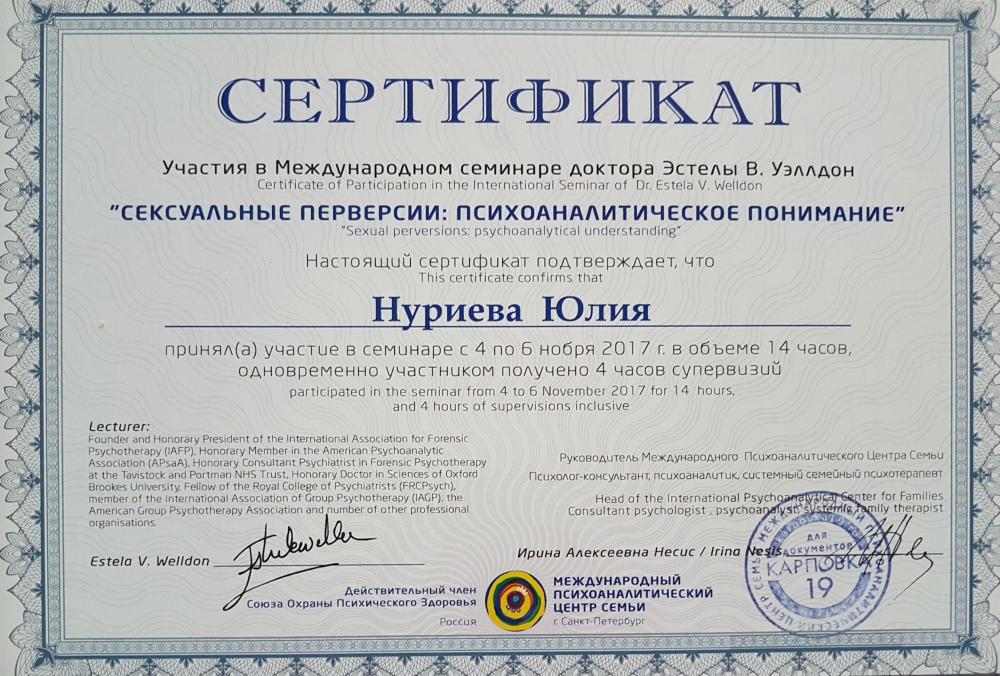 """Сертификат участия в семинаре """"Сексуальные перверсии"""""""
