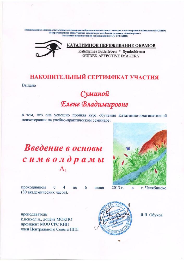 """Накопительный сертификат участия """"Введение в основы символдрамы А1"""""""